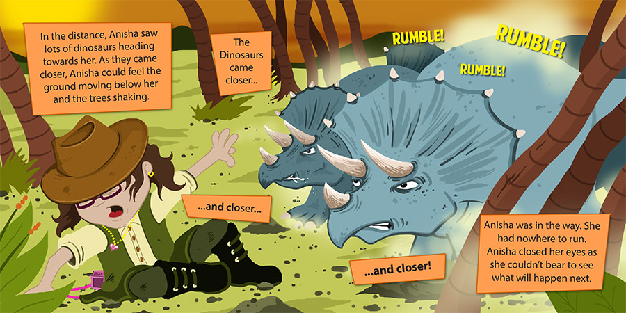 Anisha's Adventures in the prehistoric - double page children's book spread by Calvin Innes