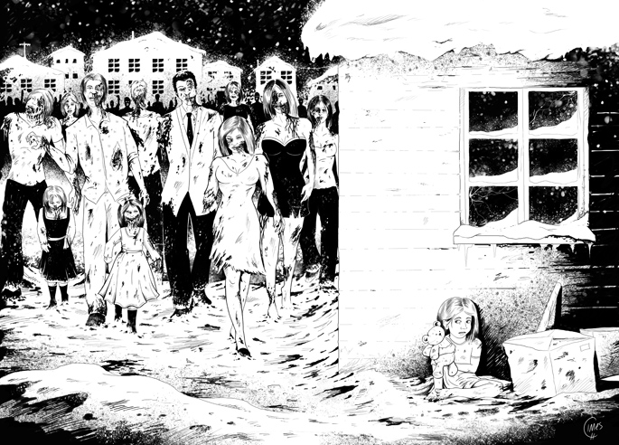 Zombies & The Girl, comic book illustration by Calvin Innes