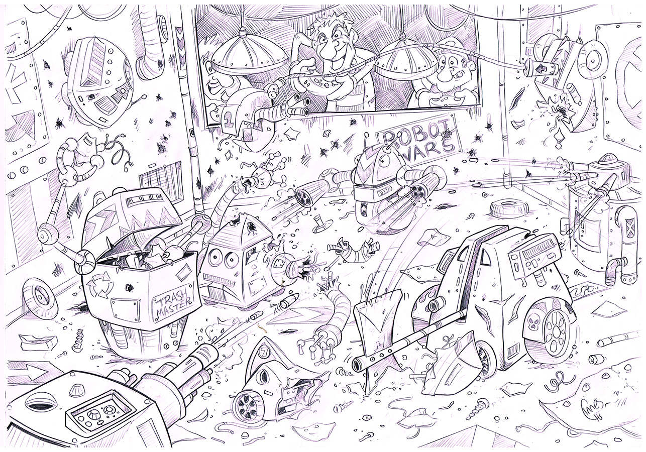 Robot Wars pencil sketch